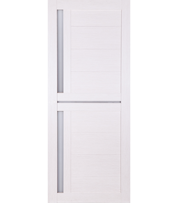Дверное полотно Принцип ЛАЙТ-1 лиственница белая со стеклом экошпон 900x2000 мм ручка защелка punto 6020 mab p