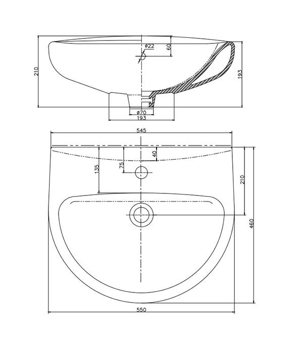 Раковина КЕРАМИН Гранд 550 мм с креплением черный фото