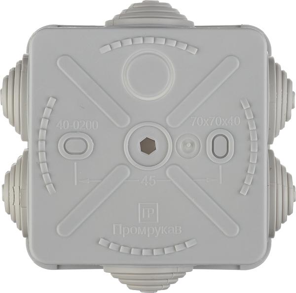 Коробка распределительная Промрукав для открытой установки 70х70х40 мм 6 вводов серая IP55 безгалогенная фото