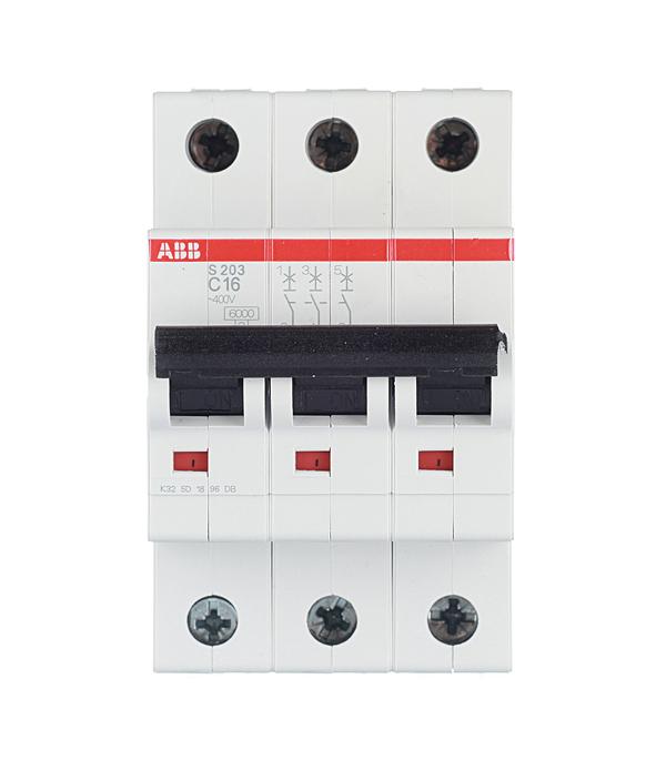 Автомат ABB S203 (2CDS253001R0164) 3P 16 А тип C 6 кА 400 В на DIN-рейку