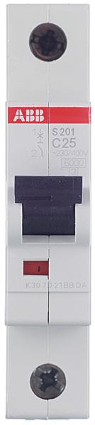Автомат ABB S201 (2CDS251001R0254) 1P 25 А тип C 6 кА 230 В на DIN-рейку фото