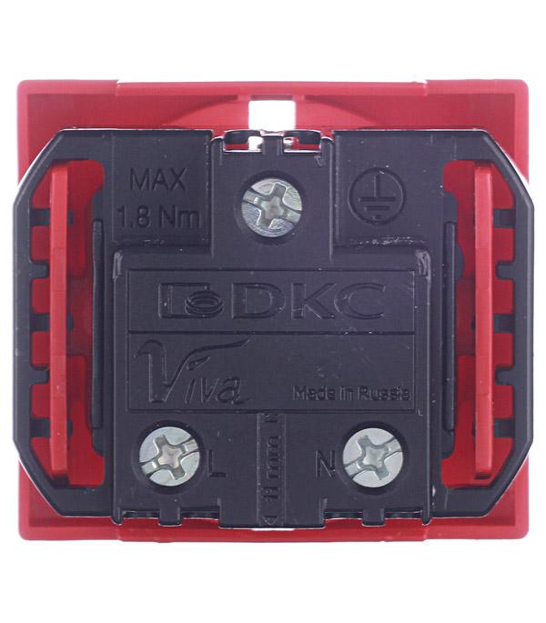 Розетка для кабель-канала DKC Viva 45015 красная со шторками под 2 модуля фото