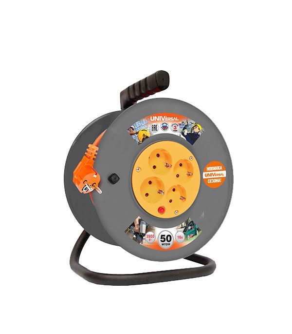 Удлинитель силовой на катушке UNIVersal Приоритет ВЕМ-250 (9634159) с заземлением 50 м 16 А 230 В ПВС 3х1,5 мм2 4 розетки 3,5 кВт IP20 с защитными шторками