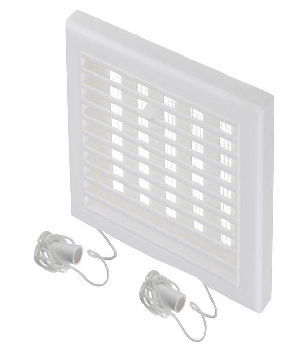 Решетка вентиляционная пластиковая приточно-вытяжная Вентс 154х154 мм с сеткой регулируемая белая