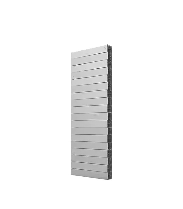 Радиатор биметаллический Royal Thermo Piano Forte Tower 500 мм 18 секций 1 нижнее подключение 1440х591 мм серый биметаллический радиатор rifar рифар b 500 нп 10 сек лев кол во секций 10 мощность вт 2040 подключение левое
