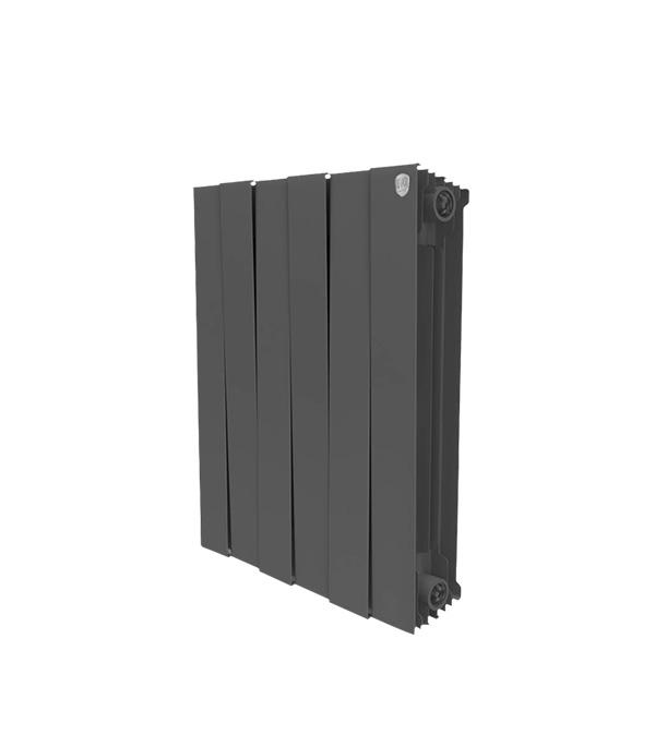Радиатор биметаллический Royal Thermo Piano Forte 500 мм 6 секций 1 боковое подключение 591х480 мм черный биметаллический радиатор rifar рифар b 500 нп 10 сек лев кол во секций 10 мощность вт 2040 подключение левое