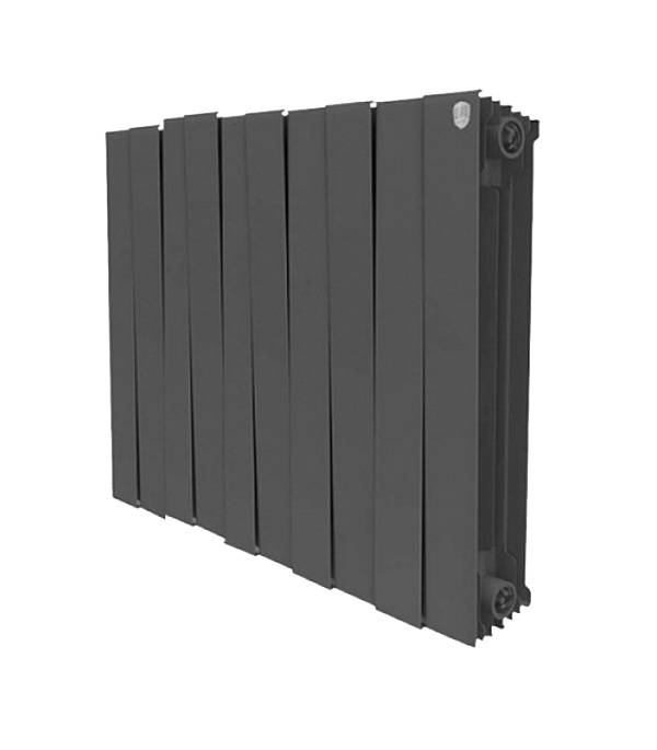 """Радиатор биметаллический Royal Thermo Piano Forte 500 мм 10 секций 1"""" боковое подключение 591х800 мм черный"""