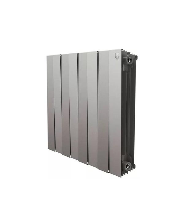 Радиатор биметаллический Royal Thermo Piano Forte 500 мм 8 секций 1 боковое подключение 591х640 мм серый биметаллический радиатор rifar рифар b 500 нп 10 сек лев кол во секций 10 мощность вт 2040 подключение левое