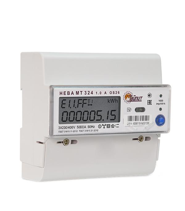 Счетчик электроэнергии Нева 324 трехфазный двухтарифный электронный 5(60) А на DIN-рейку фото