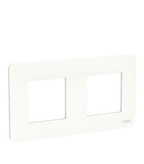 Рамка двухместная Schneider Electric UNICA STUDIO белая рамка двухместная schneider electric m trend белая