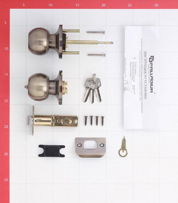 Ручка-защелка Palladium 607 AB ET с ключом и фиксатором (античная бронза)