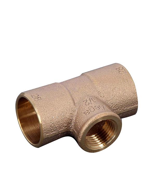 Тройник Viega под внутреннюю пайку 28 мм х 1/2 ВР(г) х 28 мм медный