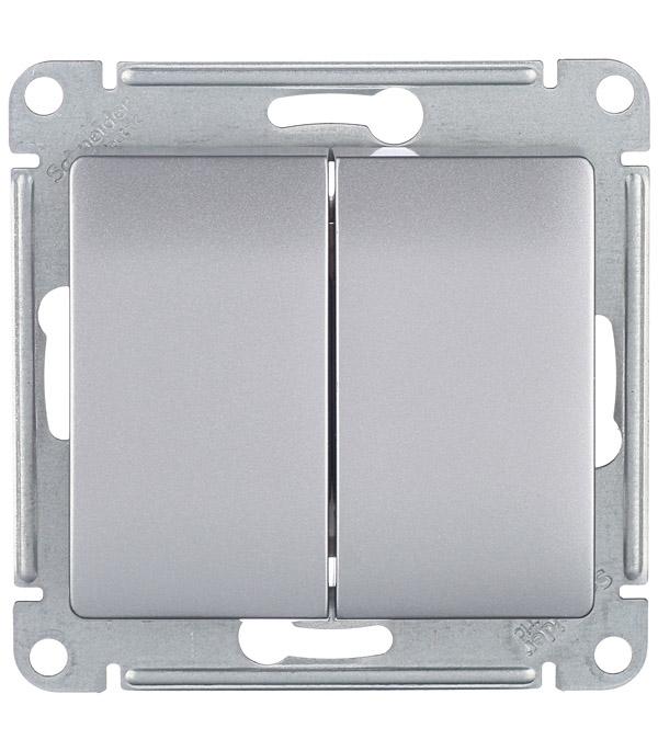 Механизм выключателя двухклавишного с/у Schneider Electric Glossa алюминий механизм выключателя двухклавишного schneider electric unica с у бежевый