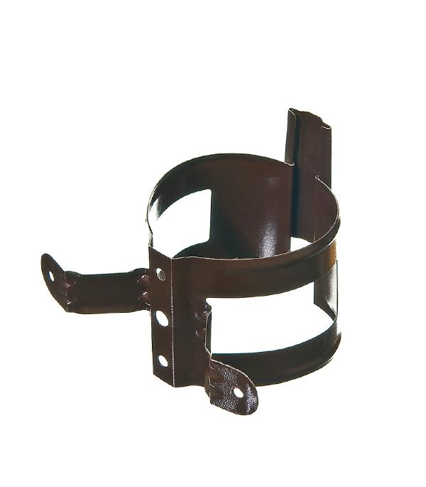 Купить Кронштейн хомут трубы на деревянную стену металлический Grand Line d90 мм коричневый, Коричневый, Металл