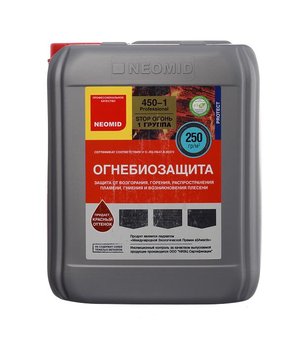 Антисептик Neomid 450 огнебиозащитный I группа красный 10 кг