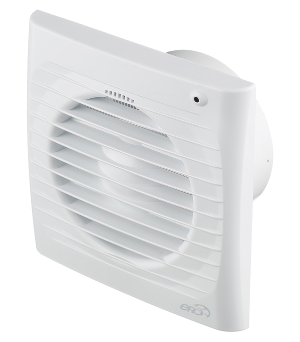 Вентилятор осевой ERA 4S-02 с тяговым выключатетлем 150х150 мм d100 мм белый