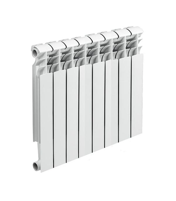 Радиатор биметаллический 500 мм 8 секций 1 боковое подключение белый биметаллический радиатор rifar рифар b 500 нп 10 сек лев кол во секций 10 мощность вт 2040 подключение левое
