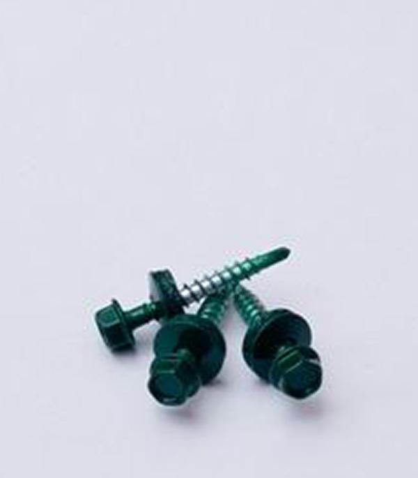 Фото - Саморезы кровельные с буром 35х4,8 мм зеленые RAL 6005 (250 шт) кронштейн для крепления колючей проволоки l образный зеленый ral 6005 grand line