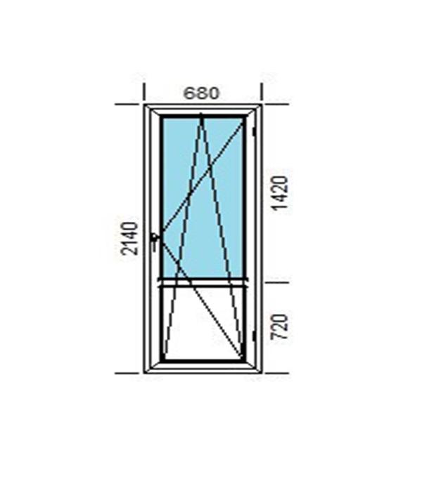Дверь пластиковая VEKA 2140х680 мм поворотно-откидная правая стеклопакет энергосберегающий верх и ПВХ низ фото