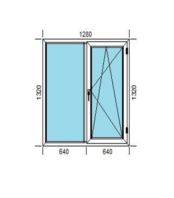 Окно пластиковое VEKA WHS Halo 1320х1280 мм 2 створки левая глухая правая поворотно-откидная энергосберегающее фото