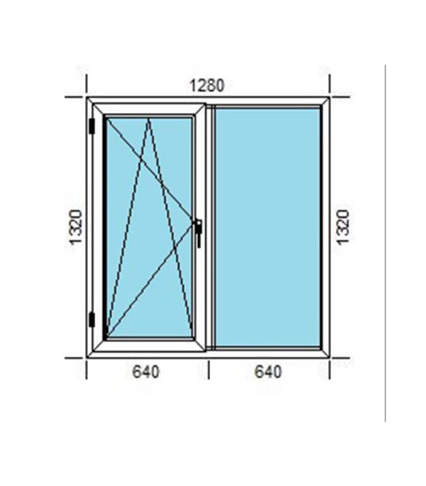 Окно пластиковое VEKA WHS Halo 1320х1280 мм 2 створки правая глухая левая поворотно-откидная энергосберегающее фото