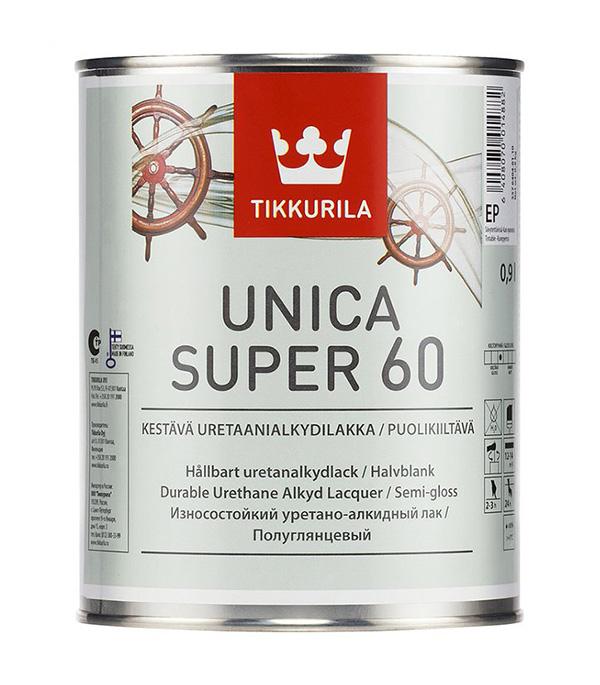 Лак алкидно-уретановый Tikkurila Unica Super 60 основа EP бесцветный 0,9 л полуглянцевый