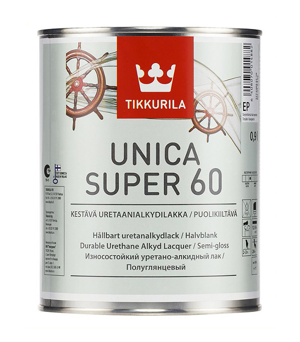 Лак алкидно-уретановый Tikkurila Unica Super 60 основа EP бесцветный 0,9 л полуглянцевый лак tikkurila тиккурила уника супер 60 полуглянцевый 2 7л unica super 60 по дереву полуглянцевый 2 7л