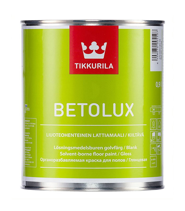 Краска Tikkurila Betolux для пола белая глянцевая основа А 0,9 л