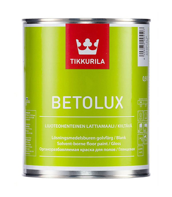 Краска Tikkurila Betolux для пола глянцевая основа С 0,9 л краска для пола tikkurila betolux бетолюкс глянцевая база с 9л