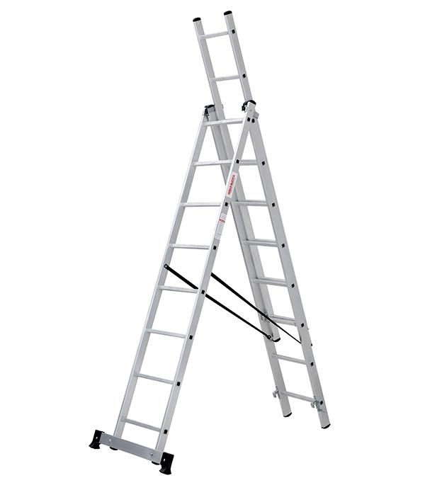 Фото - Лестница трансформер Новая высота трехсекционная алюминиевая 3х8 бытовая лестница приставная новая высота односекционная алюминиевая 1х8 бытовая