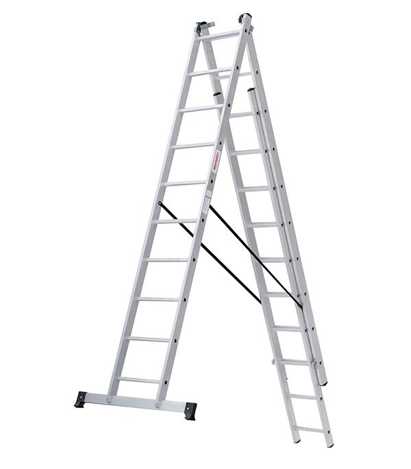 Фото - Лестница трансформер Новая высота трехсекционная алюминиевая 3х10 бытовая лестница приставная новая высота односекционная алюминиевая 1х8 бытовая