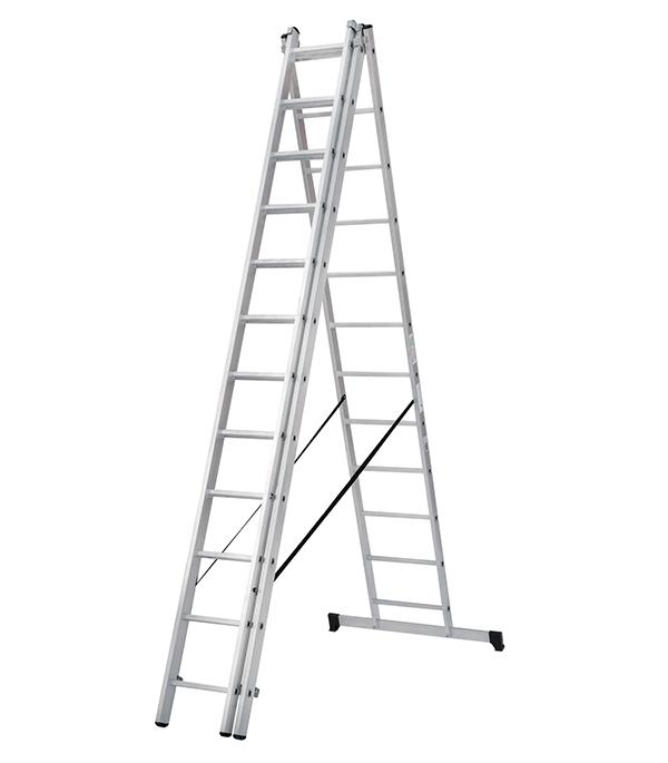 Фото - Лестница трансформер Новая высота трехсекционная алюминиевая 3х12 бытовая лестница приставная новая высота односекционная алюминиевая 1х8 бытовая