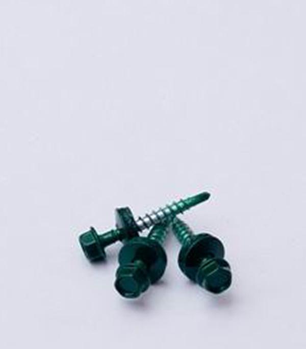 Фото - Саморезы кровельные с буром 50х4,8 мм зеленые RAL 6005 (200 шт) кронштейн для крепления колючей проволоки l образный зеленый ral 6005 grand line