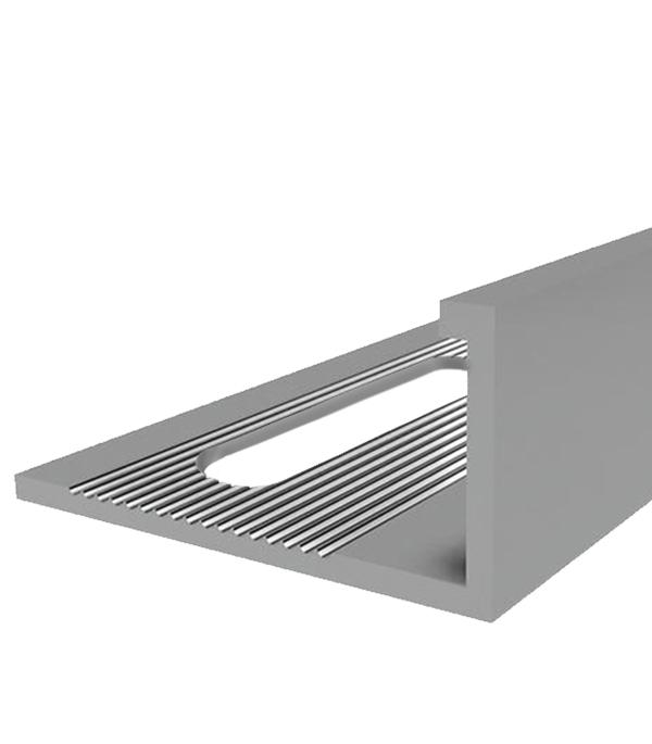 Профиль алюминиевый для кафельной плитки наружный 10х2700 мм серебро фото