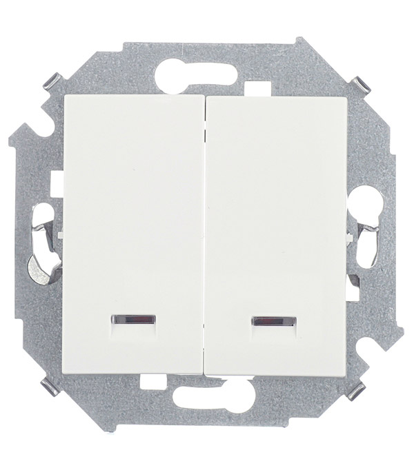Выключатель Simon 15 1591392-030 двухклавишный скрытая установка белый с индикацией механизм выключателя двухклавишный simon 15 с индикацией 16а белый