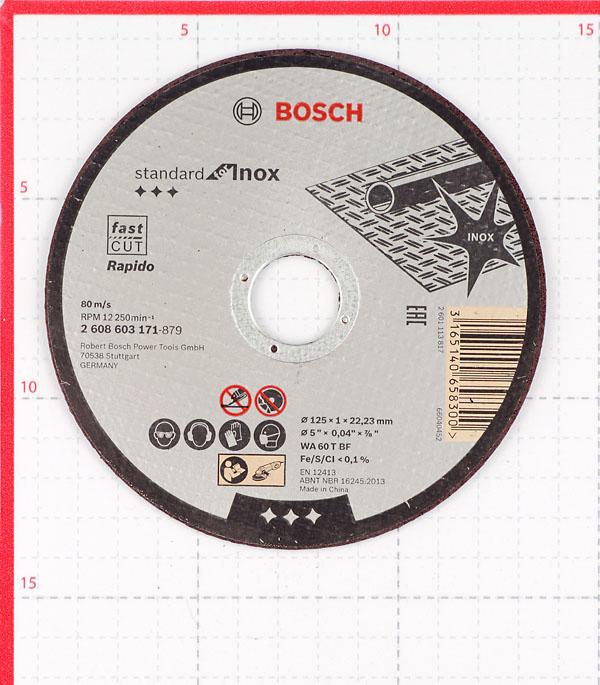 Круг отрезной по нержавеющей стали Bosch (2608603171) 125х22х1 мм фото