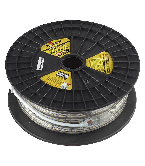 Лента светодиодная 4.8 Вт 3528 IP67 220В влагозащищенная теплый свет 1м цена