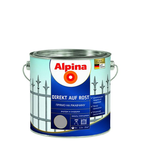 цена на Эмаль по ржавчине Alpina серебристая RAL9006 2.5 л