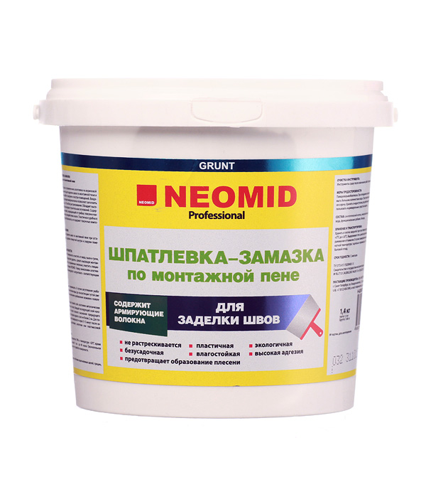 Шпатлевка-замазка NEOMID для заделки швов по монтажной пене 1.4 кг шпатлевка замазка neomid универсальная 1 4 кг