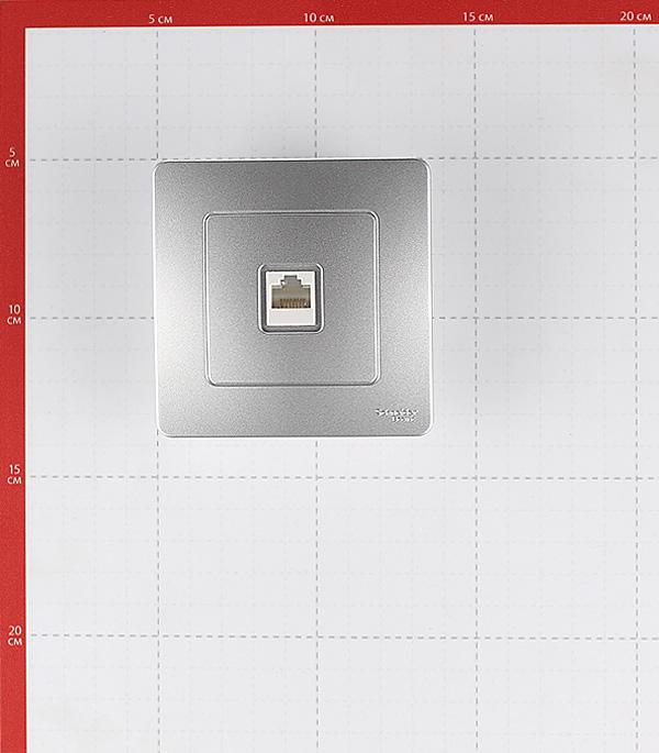 Розетка компьютерная с рамкой Schneider Electric Blanca BLNIS045003 скрытая установка алюминий один модуль RJ45 cat 5e фото
