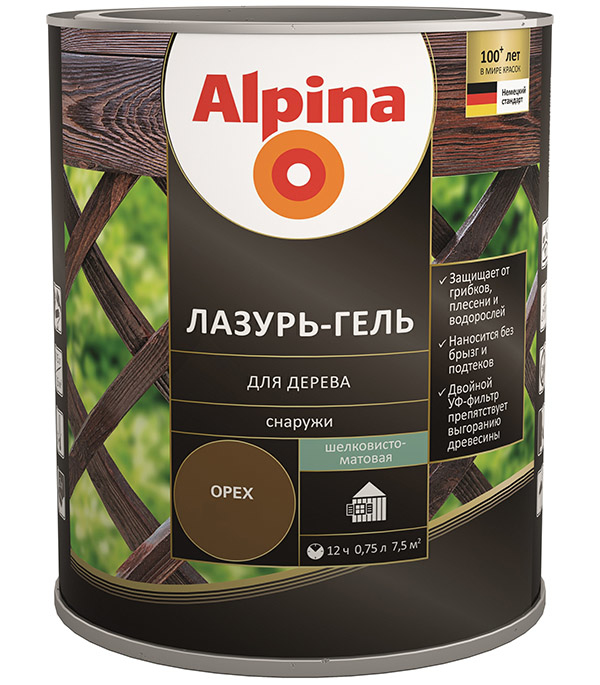 Антисептик Alpina Лазурь-гель декоративный для дерева белый 0,75 л