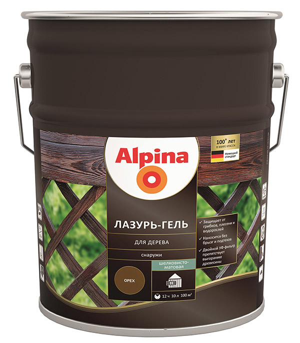 Антисептик Alpina Лазурь-гель декоративный для дерева сосна 10 л