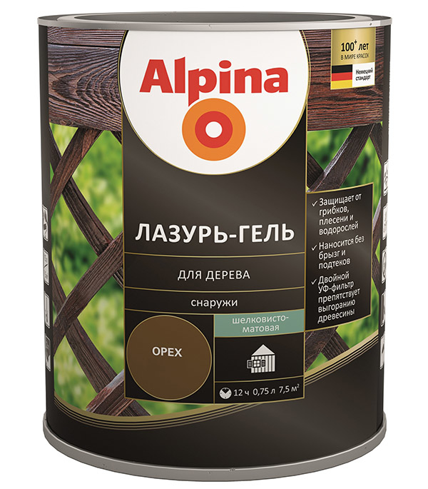 Антисептик Alpina Лазурь-гель декоративный для дерева палисандр 0,75 л