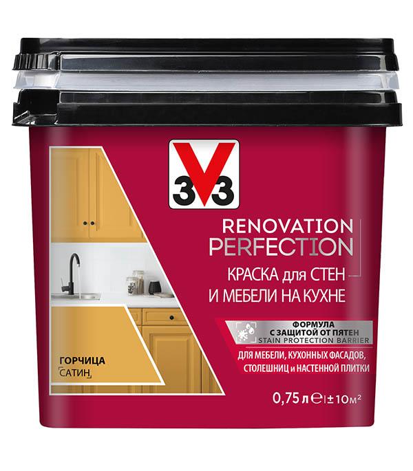 Краска водно-дисперсионная V33  Renovation Perfection для кухни моющаяся горчица 0,75 л стоимость
