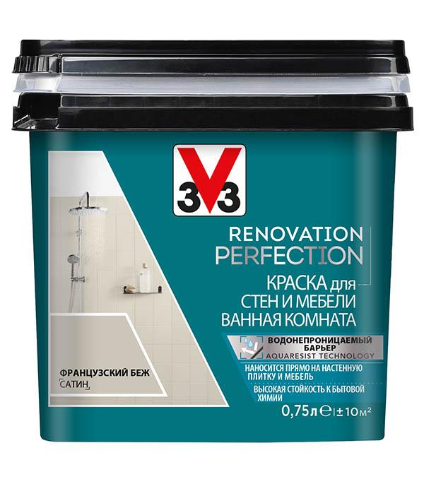 Краска водно-дисперсионная V33  Renovation Perfection для ванной моющаяся французский беж 0,75 л стоимость