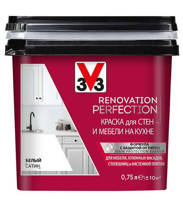 Краска водно-дисперсионная V33  Renovation Perfection для кухни моющаяся белый 0,75 л стоимость