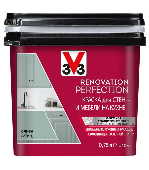 Краска водно-дисперсионная V33  Renovation Perfection для кухни моющаяся олива 0,75 л стоимость
