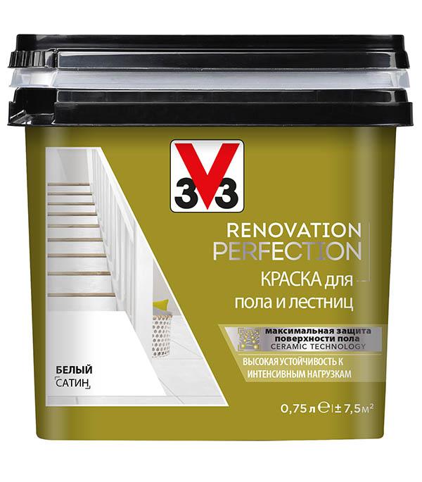 Краска водно-дисперсионная V33  Renovation Perfection для пола моющаяся белый 0,75 л стоимость