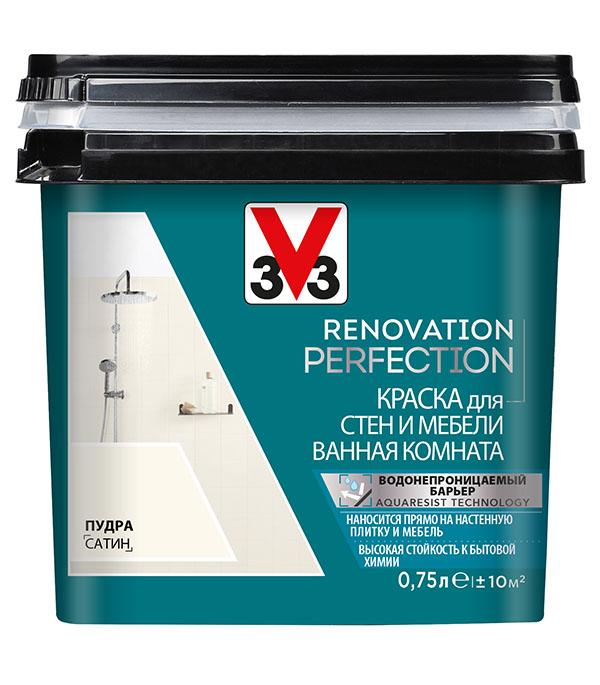 Краска водно-дисперсионная V33  Renovation Perfection для ванной моющаяся пудра 0,75 л стоимость