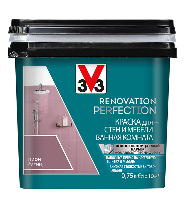Краска водно-дисперсионная V33  Renovation Perfection для ванной моющаяся пион 0,75 л стоимость
